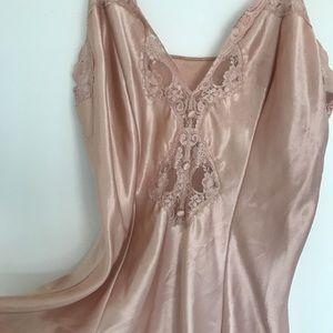 Vintage Satin silk blush lace lingerie slip dress